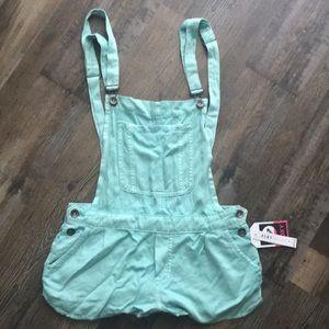 NEW! Roxy turquoise short overalls XS